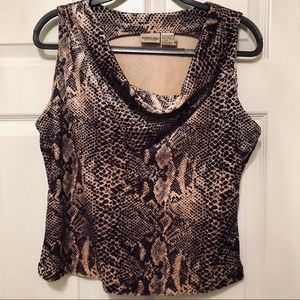 Newport News Easy Style Faux Snakeskin Cowl XL Top